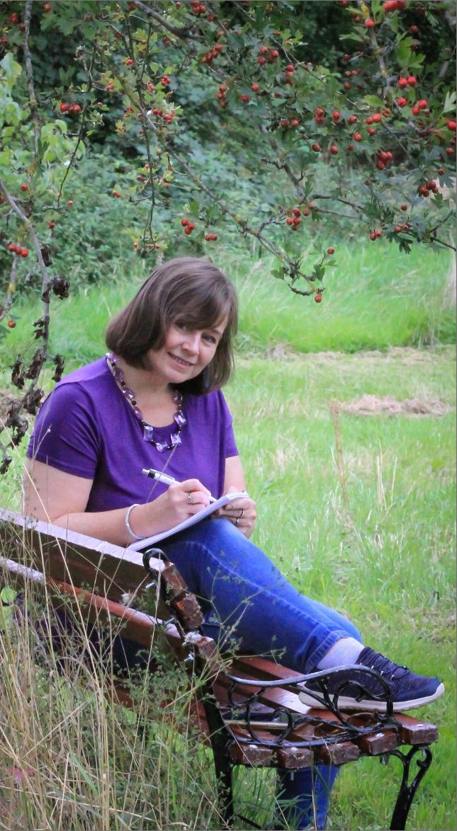 Freelance copywriter Michelle on bench