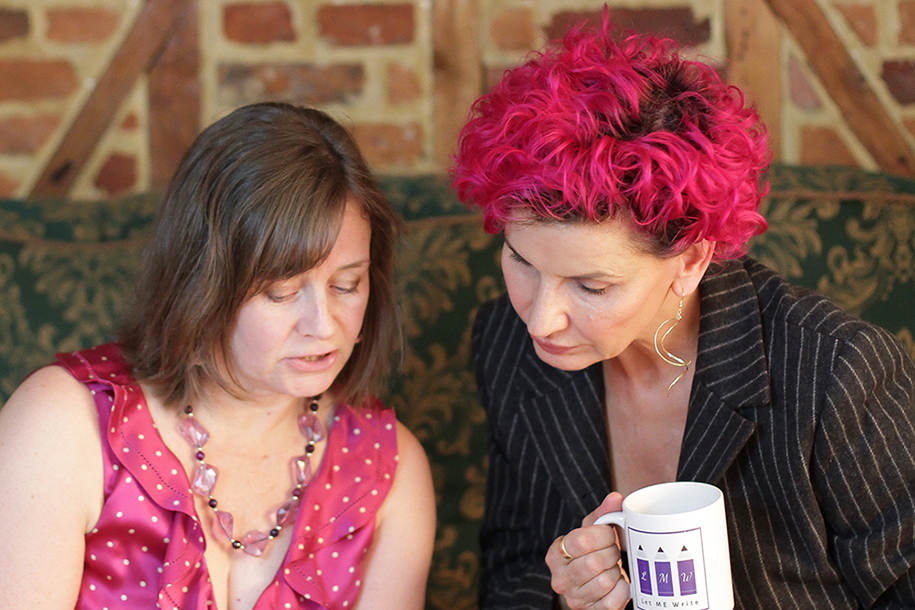 Freelance copywriter Michelle with client