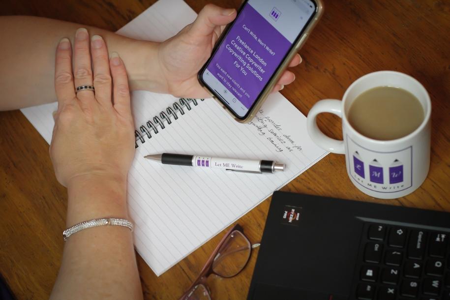 Freelance copywriter mobile and coffee